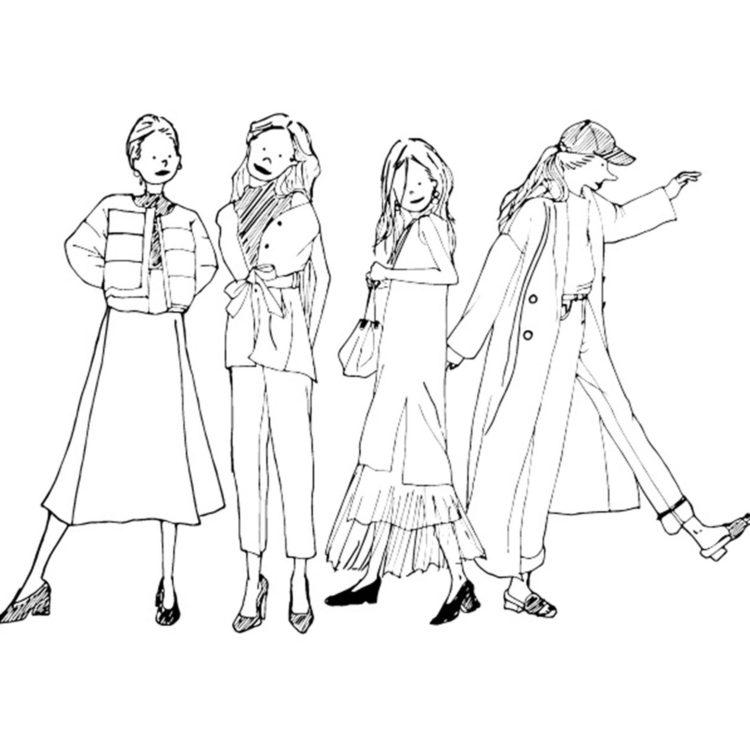 """""""litomimo""""が描くモノクロオシャレ女子のイラスト"""
